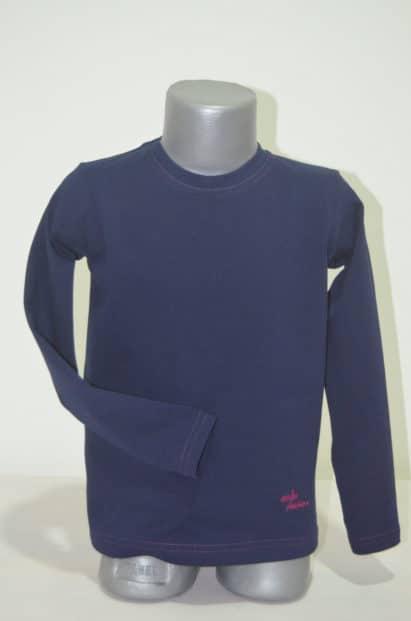 Tričko s dlhým rukávom Melm tmavomodré s ružovým lemom