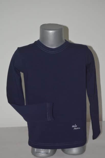 Tričko dlhorukávové Melm tmavomodré so sivým lemom