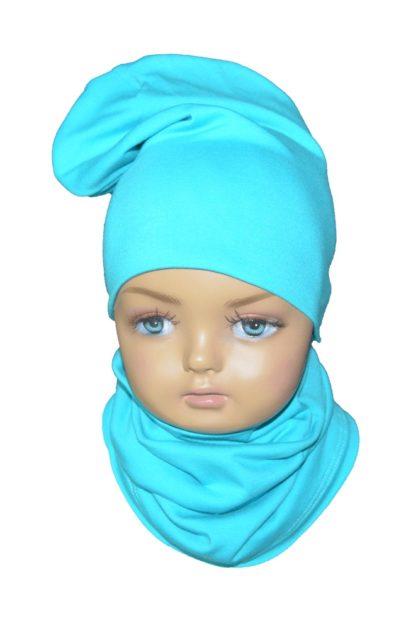 Detský set B čiapka + nákrčník dvojvrstvový azúrový