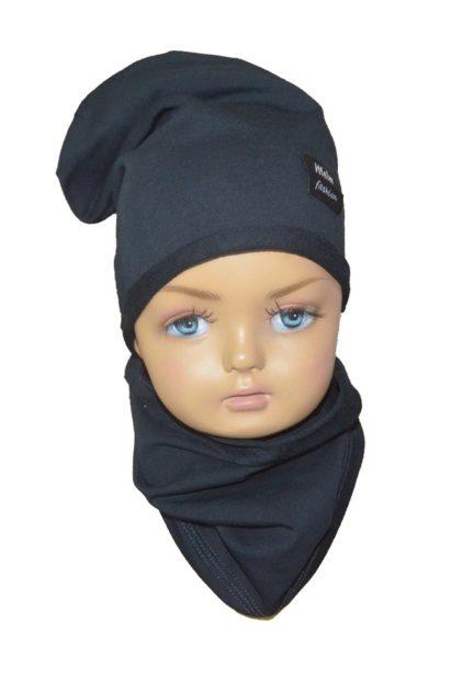 Set C čiapka + nákrčník pre deti čierny