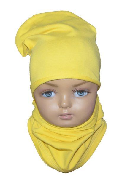 Set C šmolko čiapka a nákrčník žltý jednovrstvový