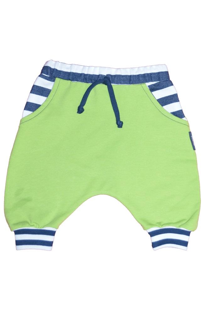 306cc5bd282f Detské pudlové tepláky zelené s pásikom krátke 86-122